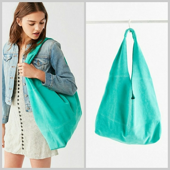 Urban Outfitters Handbags - Urban Outfitters Suede Turquoise Hobo Tote Bag